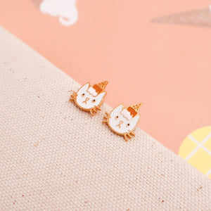 Kitty Ice cream Cone Enamel Earrings