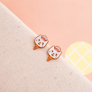 NEW! Kitty Strawberry Ice cream Cone Enamel Earrings