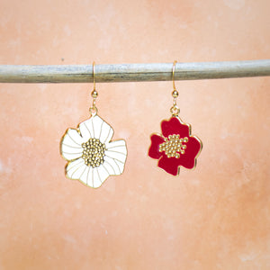 Mismatched Summer Hibiscus Enamel Drop Earrings