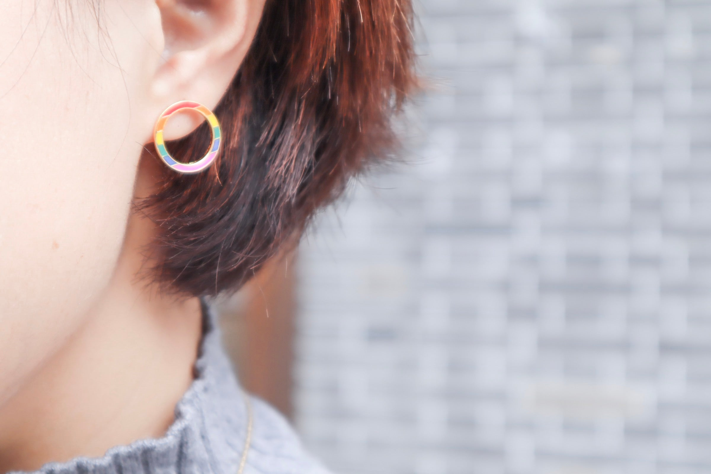 Circle Rainbow Enamel Stud Earrings