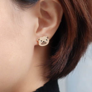 Pug Enamel Stud Earrings