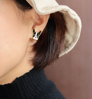 French Bulldog Enamel Stud Earrings