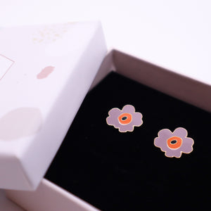 Dusty Purple Poppy Enamel Stud Earrings