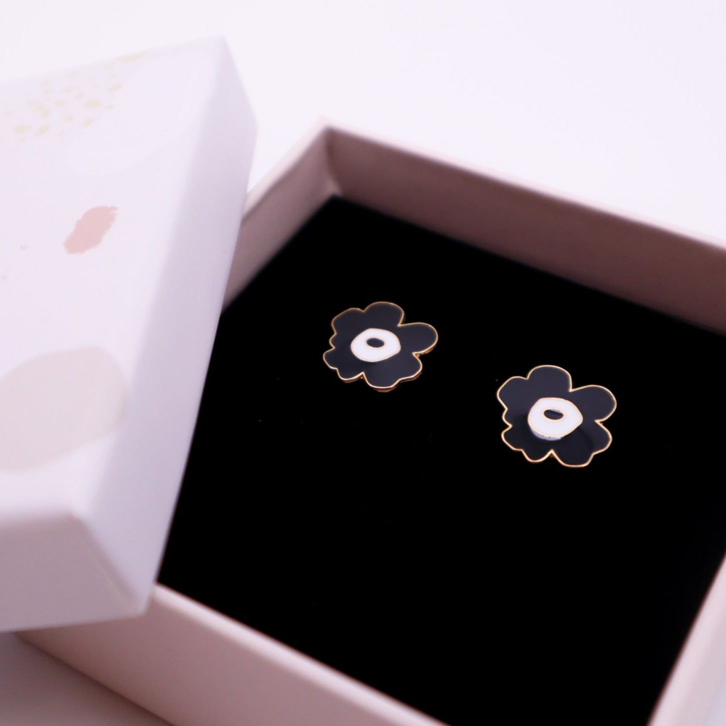 Black Poppy Enamel Stud Earrings