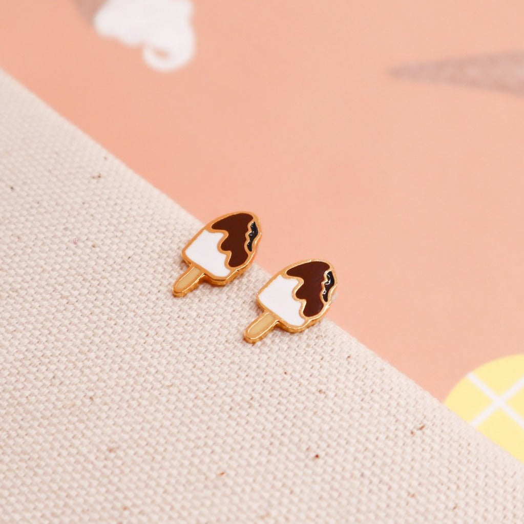 Chocolate Ice cream Bar Enamel Earrings