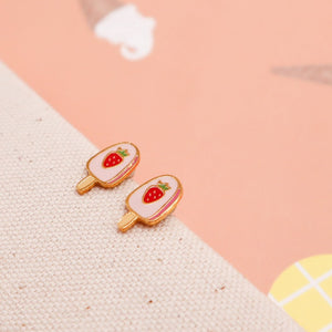 Strawberry Ice cream Bar Enamel Earrings