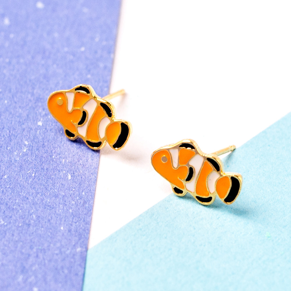 Orange Clownfish Enamel Stud Earrings