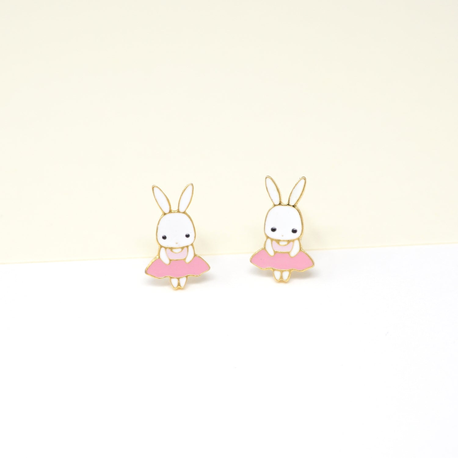 Pink Bunny Enamel Stud Earrings