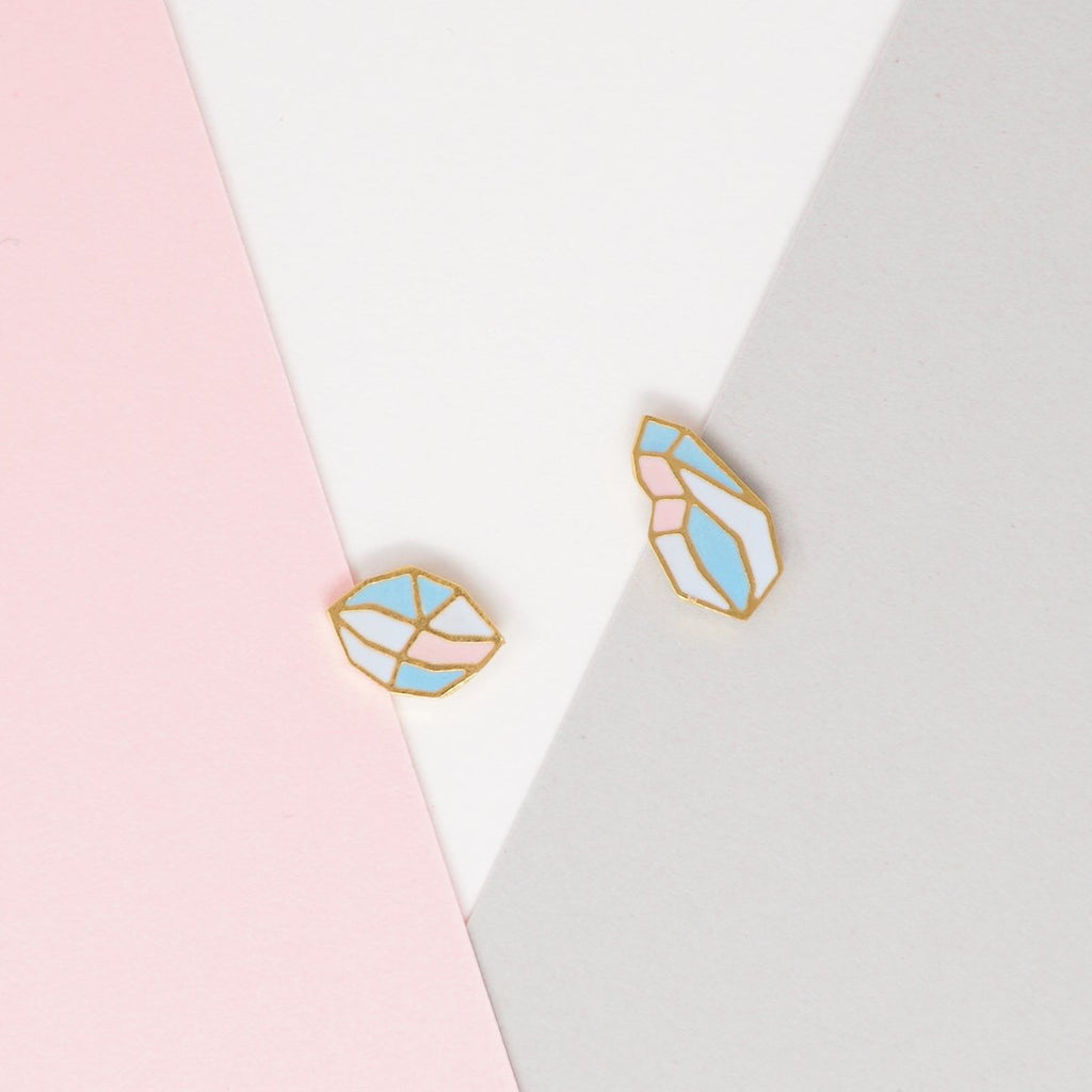 Pink Glacial Heart Ore Enamel Stud Earrings | Miss Modi