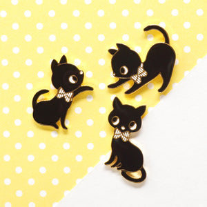 NEW! Playing Cats Black Enamel Stud Earrings