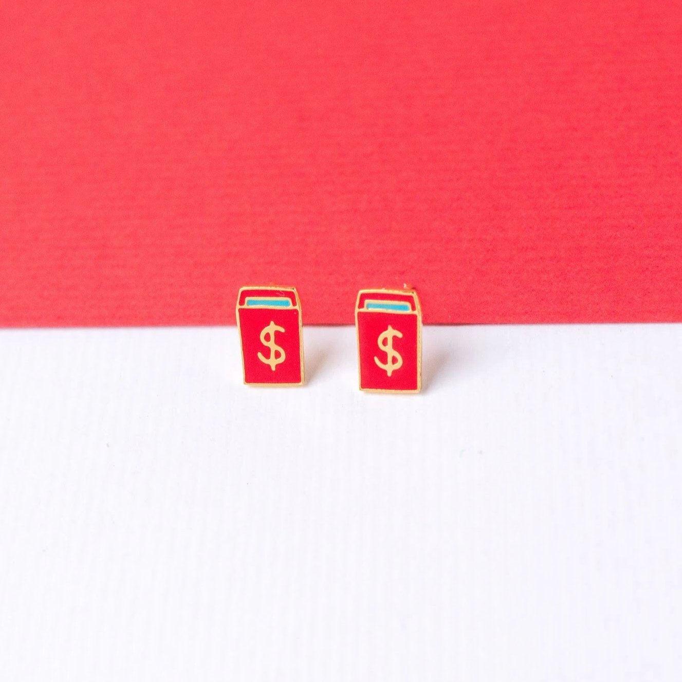 Handcrafted Red Envelope Enamel Earrings | Miss Modi