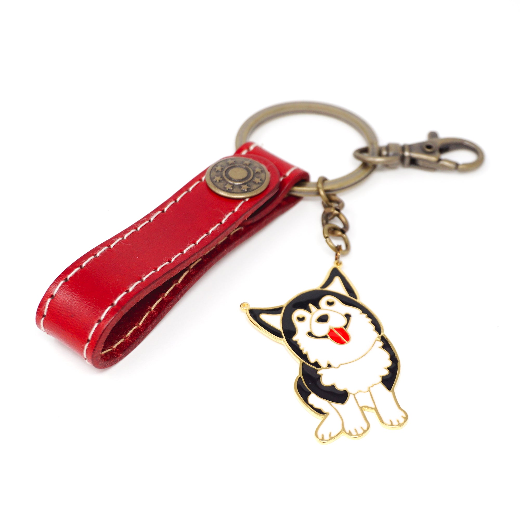 Red Leather Key Ring with Handcrafted Enamel Husky