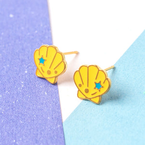 Handcrafted Seashell Enamel Stud Earrings