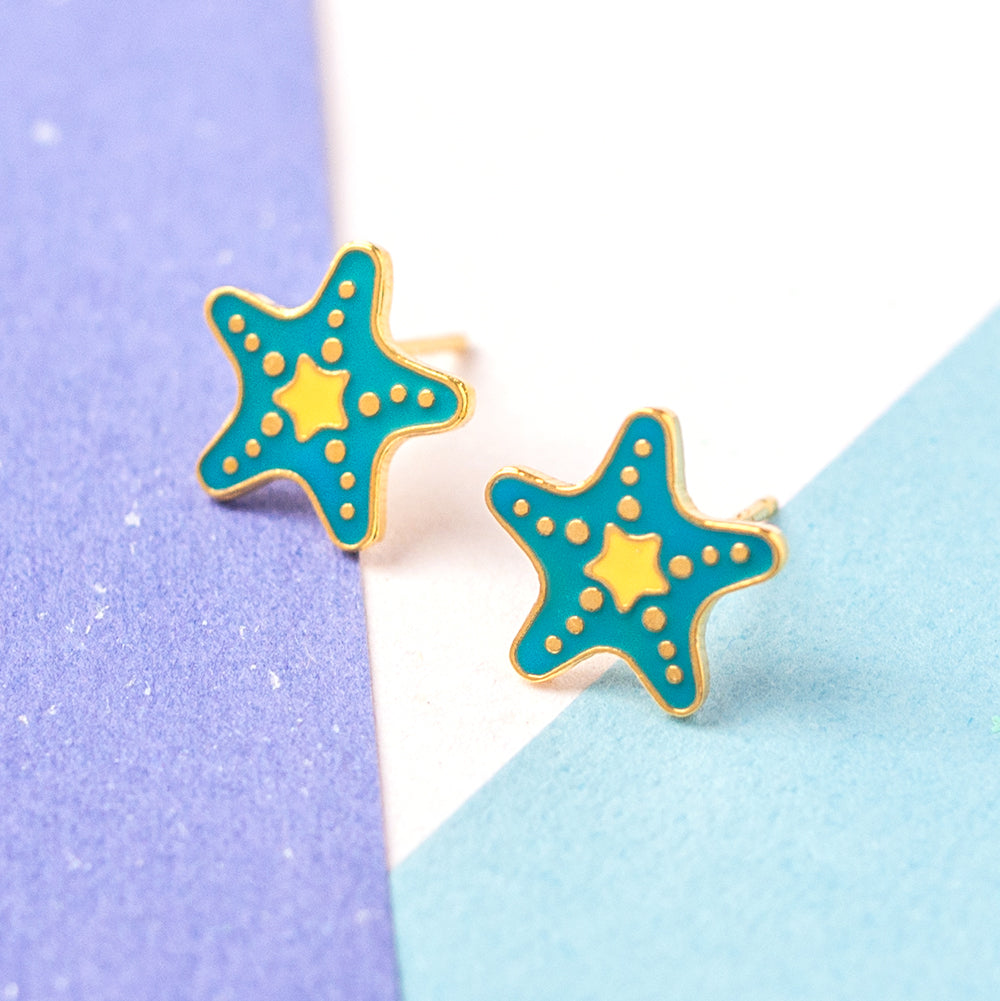 Starfish Enamel Stud Earrings