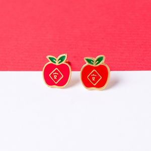 Apple [Ping] Enamel Stud Earrings
