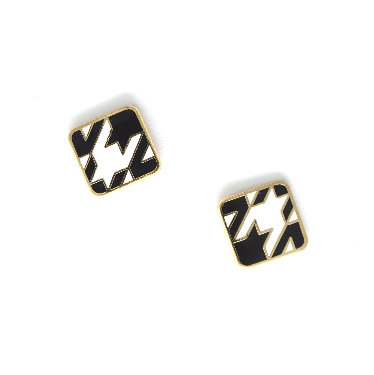 Miss Modi presents Handcrafted Black Houndstooth Enamel Stud Earrings