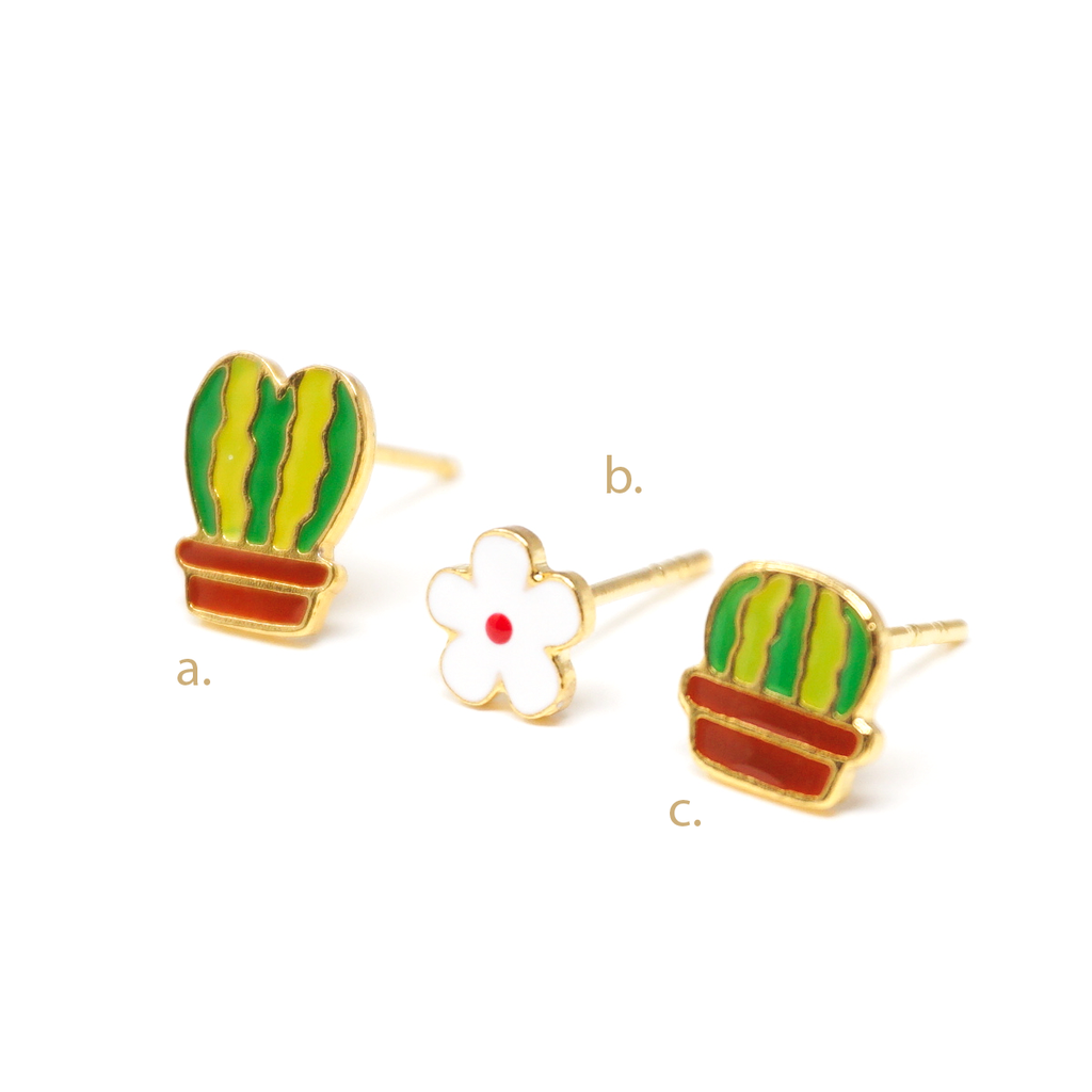 Cactus Love Story Enamel Stud Earrings (3 pcs)