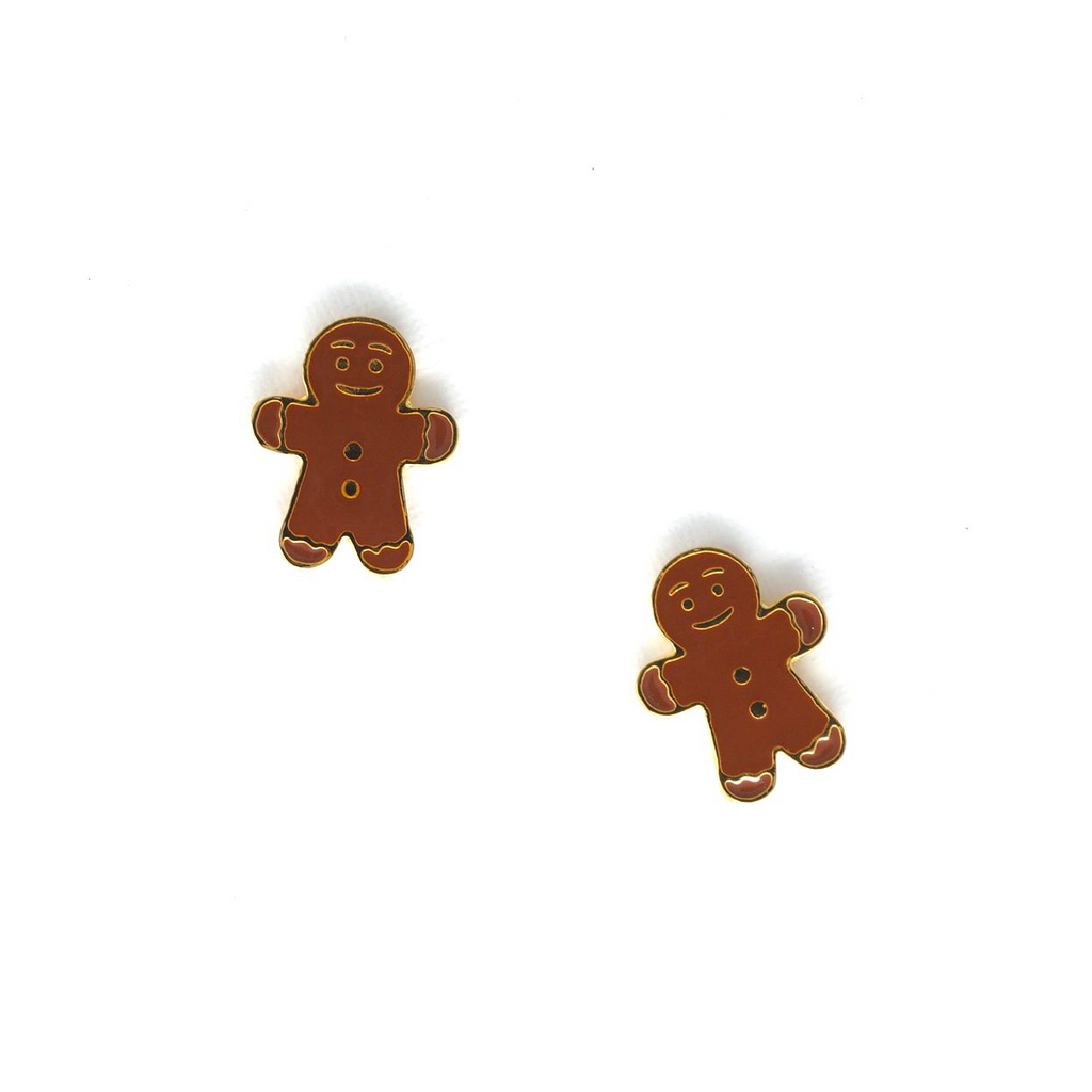 Miss Modi presents Handcrafted Gingerbread Man Enamel Stud Earrings