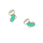 Miss Modi presents Handcrafted Xmas Green Stocking Enamel Stud Earrings