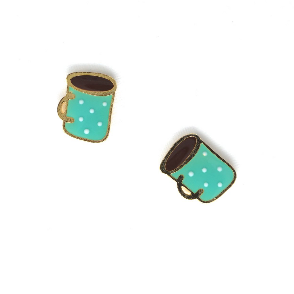 Hot Cocoa Enamel Stud Earrings