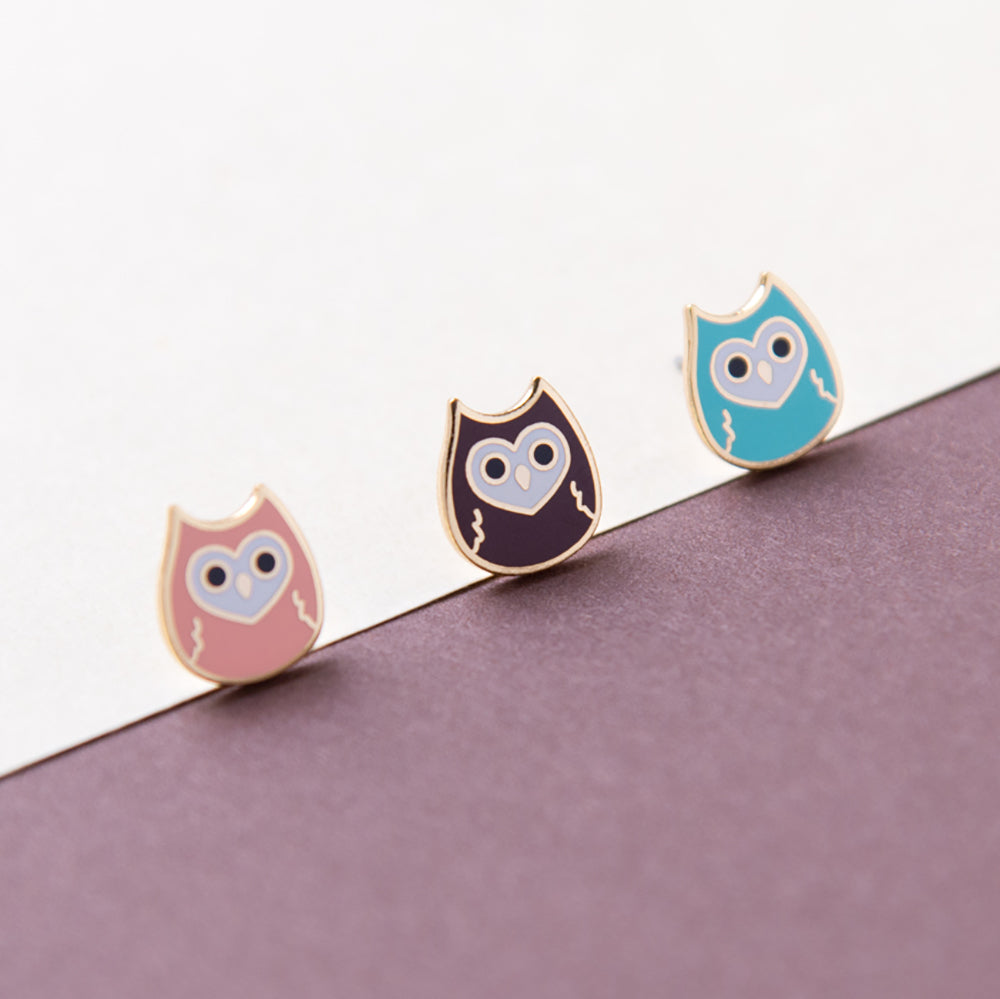 Little Owl Enamel Stud Earrings