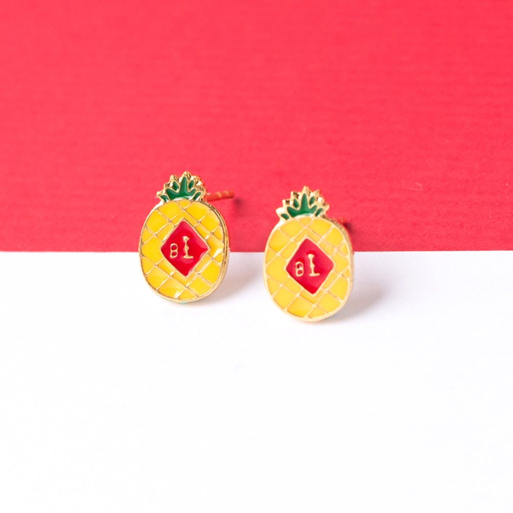 Pineapple [Wanglai] Enamel Stud Earrings