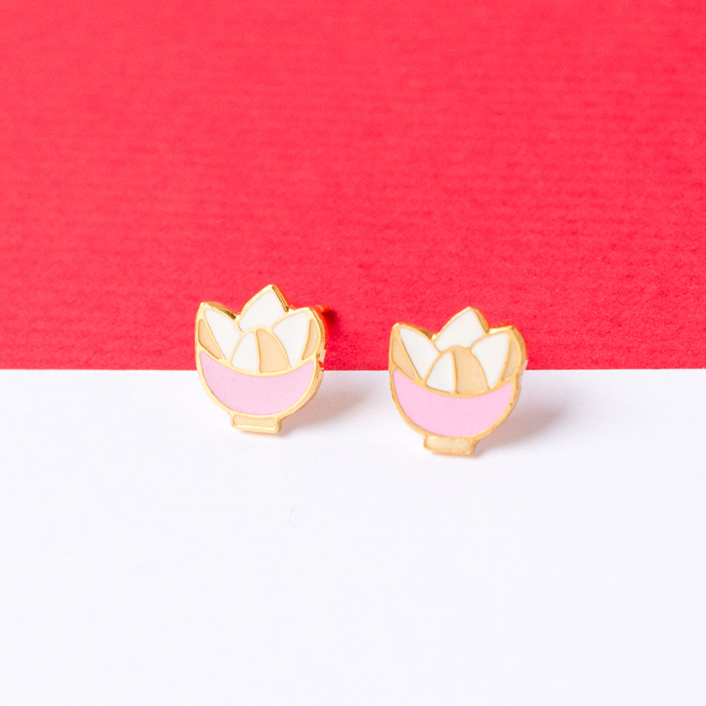 Steamed Sponge Cake Enamel Stud Earrings