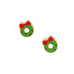 Miss Modi presents Christmas Wreath Enamel Stud Earrings