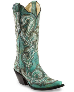 Corral Women's Teal Shaded & Studded Cowgirl Boots - Snip Toe