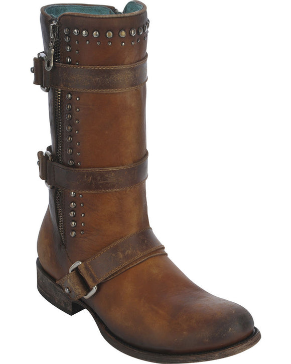 Brown Studded Harness & Buckle Boots by Corral (C2966)