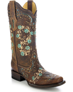Chocolate Square Toe With Embroidered and Studs  -R1373 From Corral Boots