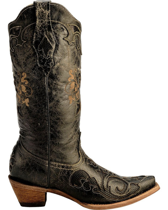 Lizard Inlay Snip Toe Exotic Boots by Corral (C1198)