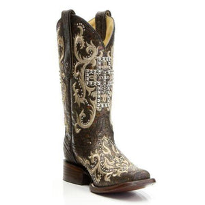 Corral Boots Black & Silver Studded Cross Square Toe C2859