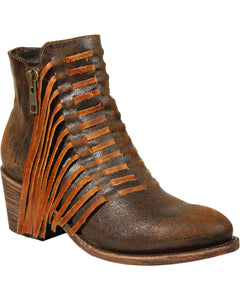 Corral Women's Brown Side Fringe Booties - Medium Toe