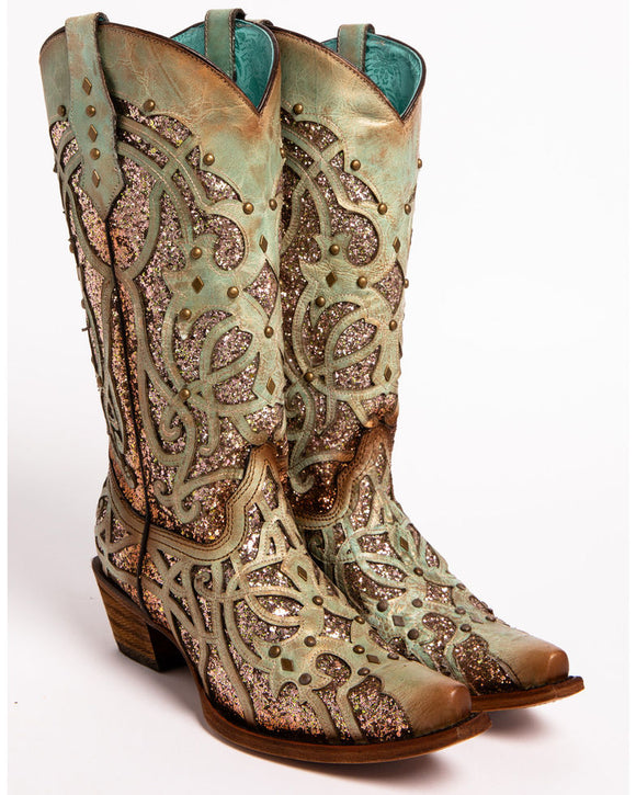 Corral Women's Mint Glitter Inlay Western Boots - Snip Toe