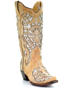 Corral Women's Glitter Floral Inlay Western Boots - Snip Toe