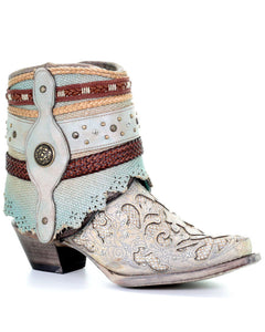 Women's White Glitter Flipped Shaft Fashion Booties - Snip Toe - A3689 Corral boot