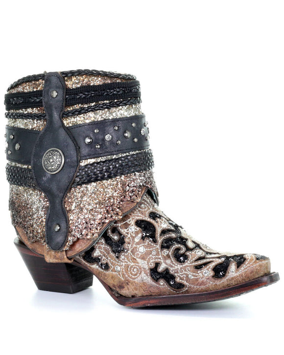 Corral Women's Glitter Flipped Shaft Fashion Booties - Snip Toe A3691