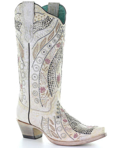 Corral Women's Crystal Floral Embroidery Western Boots - Snip Toe
