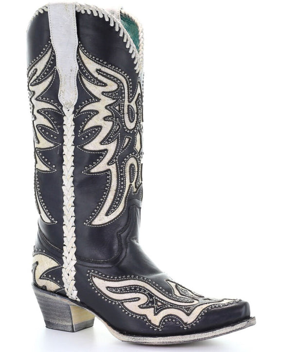 Black & White Inlay Western Boots - Snip Toe E1543