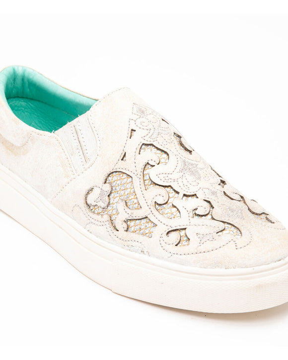Corral Women's White Embroidered Glitter Inlay Sneakers