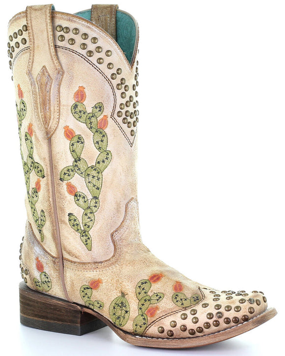 Corral Women's Nopal Embroidery Western Boots Cactus Embroidery and Studs