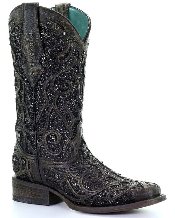 Corral Women's Black Glitter Inlay & Studs Western Boots