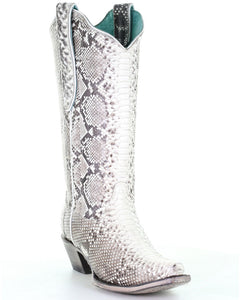 Corral Women's Natural Python Boots - Snip Toe