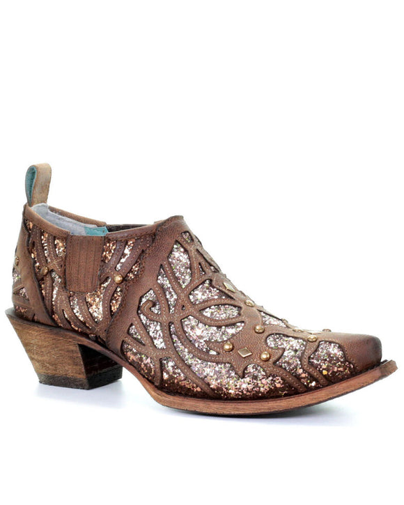 Corral Women's Tobacco Glitter Inlay Fashion Booties - Snip Toe