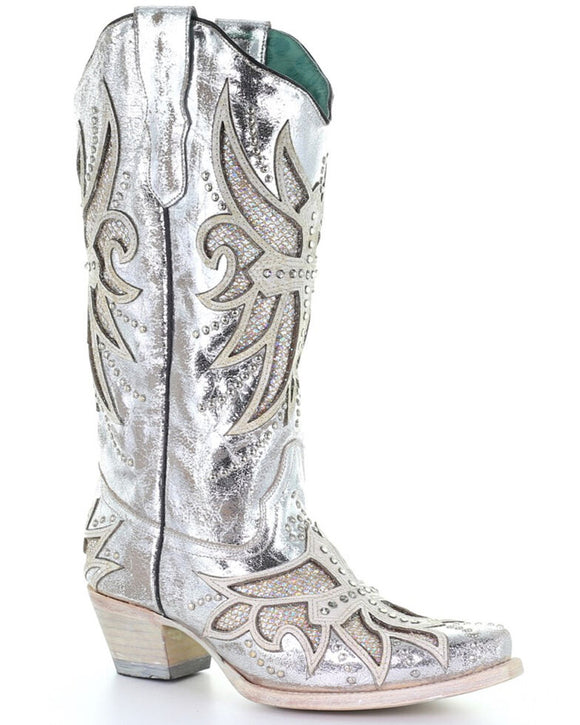 Corral Women's Silver Laser & Inlay Western Boots - Snip Toe