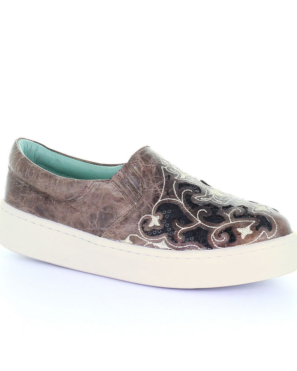 Corral Women's Brown Inlay & Embroidered Sneakers with Black Sequins