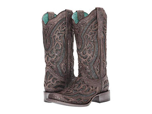 Ladies brown and grey sparkle inlay square toe - E1512 Corral boot