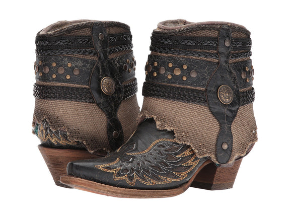 Corral Bootie Black and Brown with Wings and Cross Detail Flip Shaft