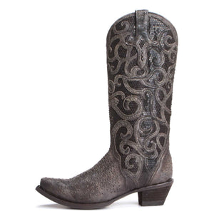 Vintage black overlay with studs  -C3446 From Corral Boots